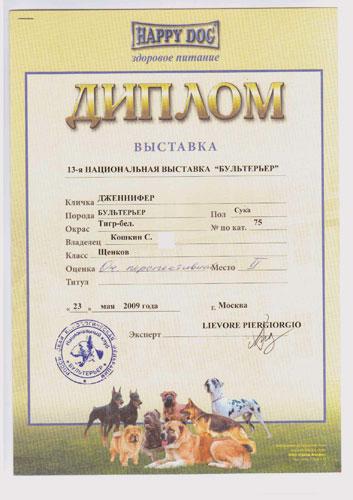 Диплом 13-й национальной монопородной выставки БУЛЬТЕРЬЕР ранга Чемпион Клуба