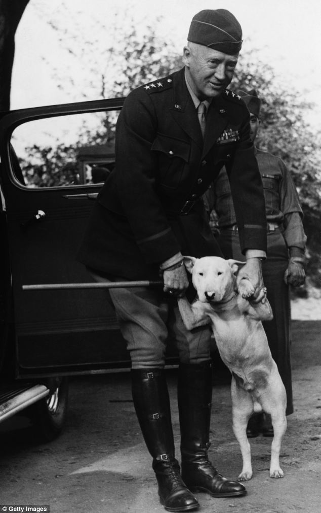 General George Patton with bull terrier Willie